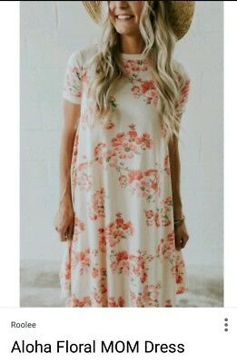 Women's Roolee Boutique MOM Aloha Floral Zip Down Nursing Dress Size Small S