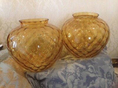 #SundayMarket FABULOUS PR. HUGE VINTAGE/RETRO AMBER BUBBLE GLASS SHADES.