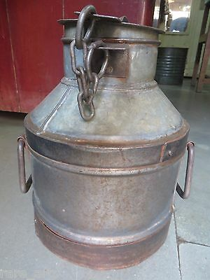 Vtg. Milk Can Dairy Product Storage Canister India Hand Made 1950 yard decor Med
