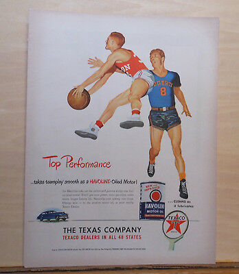1948 magazine ad for Texaco - Basketball players, Teamplay for top performance