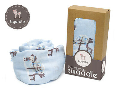 NEW B.Gentle 100% BAMBOO Baby Swaddle Wrap Safari Friends 120x120cm