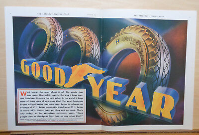1932 double page magazine ad for Goodyear Tires - Who knows the most about tires