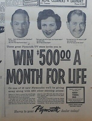1957 newspaper ad for Plymouth - Bob Hope, Betty White, Lawrence Welk, contest