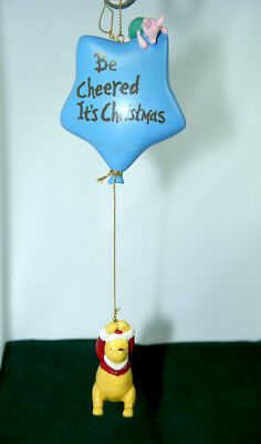 Winnie the Pooh and Piglet Star Balloon holiday Christmas ornament EUC Disney