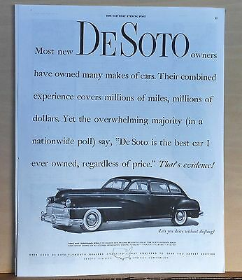 1947 magazine ad for DeSoto - Owners say DeSoto is Best Car Ever Owned