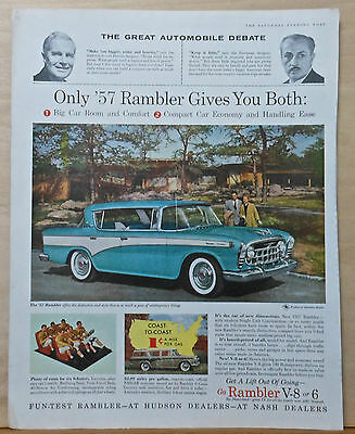1957 magazine ad for Rambler - Great Auto debate, Big car room, compact economy