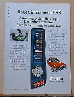 1974 magazine ad for Toyota - ESP warning system monitors key service areas