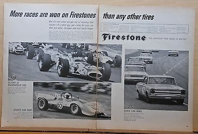 1966 two page magazine ad for Firestone Tires - Wins more, Stock, Indy, Sports