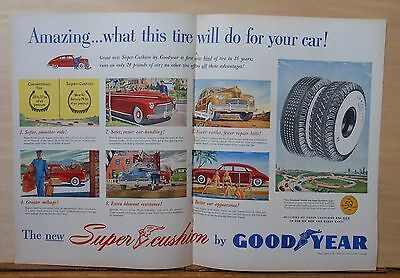 1948 double page magazine ad for Goodyear - Amazing what this tire will do