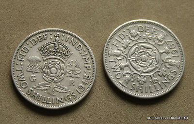 English Florin X 2  1948 And 1967  Circulated As Imaged Two Shilling #bvo6