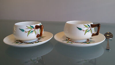 1873 English Japonesque Bamboo Design Handled Cup And Saucers As New.