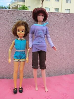 2 Dolls,vintage 1950 Pepper & Stacie Barbie Dolls,wearing Nice Outfits,htf Dolls