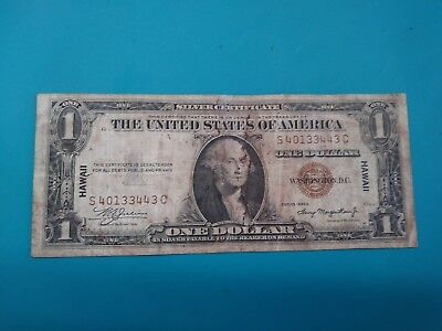 1935 A Hawaii US Silver Certificate Emergency Issue $1 One Dollar Banknote.F