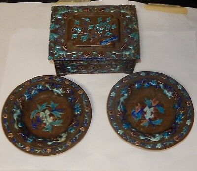 Old Large Chinese Repousse Cloisonne Enamel Two Round Ash Trays Humidor Jar Box