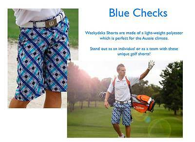 Wackydaks Blue Checks Loud Golf Shorts (BNWT) RRP$79