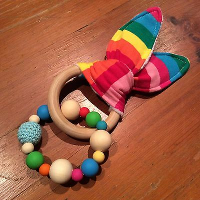 Teething Ring Rainbow Natural Wood & Silicone Beads,Crinkle Sound Bunny Ears