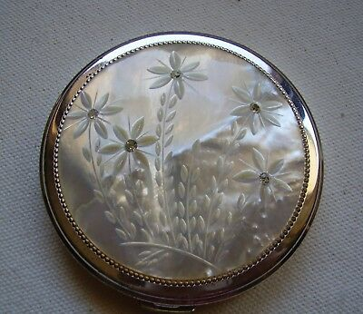 Vintage Ladies Powder Compact - Carved Mother of Pearl, flowers design