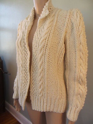 """Vintage~1980s Handmade~Victorian Insp~ Ivory Cable Knit Cardigan Sweater~41""""B"""
