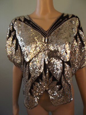 Vtg~1980s~Black/Silver Silk Sequined Butterfly Disco Blouse by GUNIT~Large