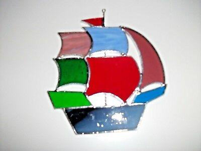 Handmade Stained Glass tall ship Sun-catcher / window decoration