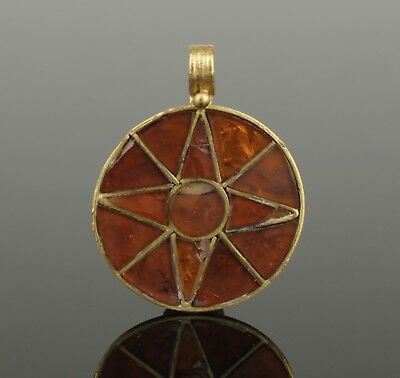 BEAUTIFUL ANCIENT BYZANTINE GOLD & GARNET PENDANT CIRCA - 9th Century AD  003