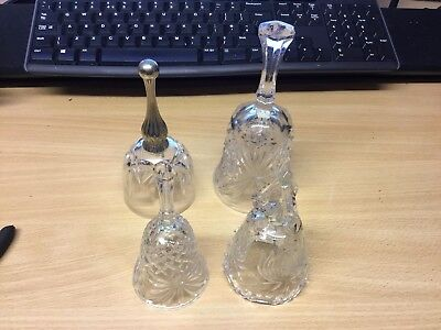 four Vintage Crystal Cut Glass cut crystal Bells collection – Lovely Condition