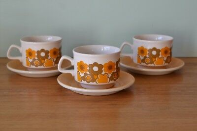 Vintage Staffordshire duo tea cup / coffee cup funky flowers x 3  3195