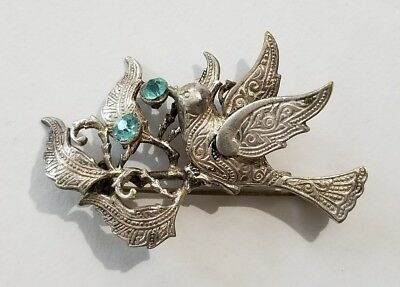 Stunning Vintage Estate Signed Spain Rhinestone Damascene Bird Brooch!!