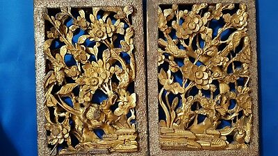 Antique Oriental Chinese gilded wood carved panels ~ Flowers birds etc