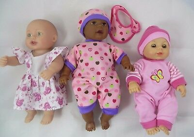 Cititoy Baby Dolls Lot of 3 Lauer Hard Vinyl Soft Rubber Water Baby Clothing