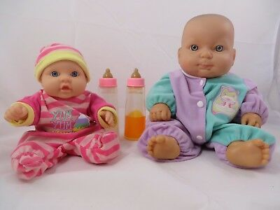 Berenguer Baby Dolls Lot of 2 Chubby Fat Vinyl Body Clothing Milk Juice Bottles