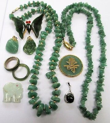Vintage gold metal & jade butterfly brooch + 2 necklaces + rings + pendants