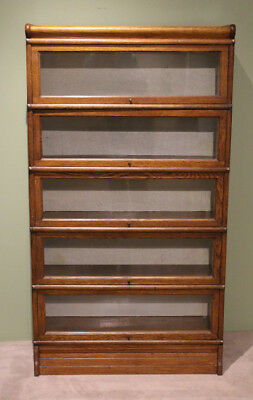 Antique BARRISTER STACKING BOOKCASE GLOBE WERNICKE GLASS FRONT 5 SHE... Lot 8005