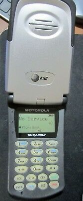 Vintage Motorola Talkabout T8097 (AT&T) Cellular Phone - working with extras.