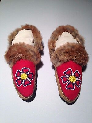 """Vintage Antique 10 1/2"""" Native American Indian Beaded Moccasins"""