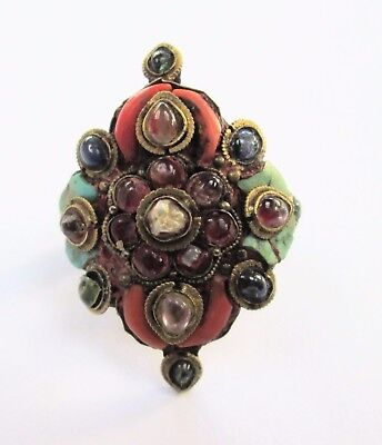 Stunning large ornate vintage gold metal, coral, turquoise, pearl & crystal ring