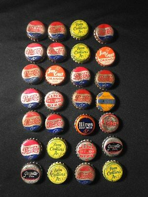 Vintage Lot of 28  Different   USED Bottle Caps - USA- CORK LINED