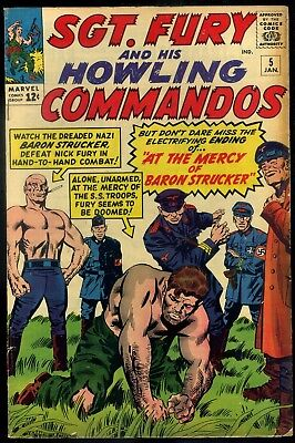 Sgt Fury and His Howling Commando #5 Fine-  1st Appearance Baron Strucker