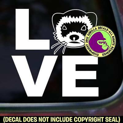 LOVE Word FERRET Vinyl Decal Sticker Ferrets Weasel Car Window Wall Sign