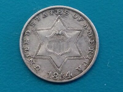 1854 Silver Three Cent Piece 3cp --- STUNNING COIN-- XF