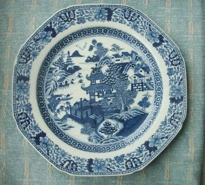 Old Vintage Antique Chinese Blue and White Hand Painted Porcelain Plate  1790 a