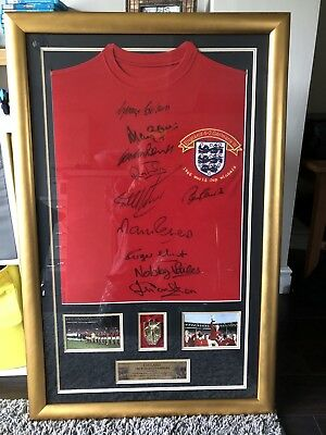 Framed England 1966 World Cup Singed By 10 Autograph