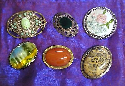 6 lovely vintage oval brooches, Silver,Czech, painted, Carnelian, etc