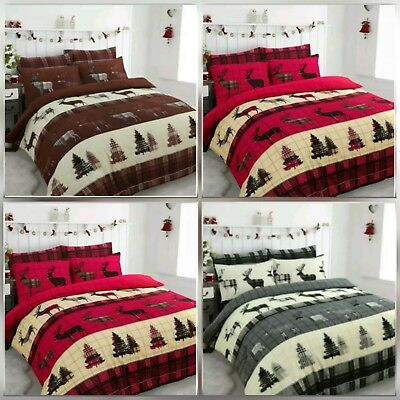 New Christmas Stag 100% Brushed Cotton Duvet Quilt Cover Set With Pillow Case