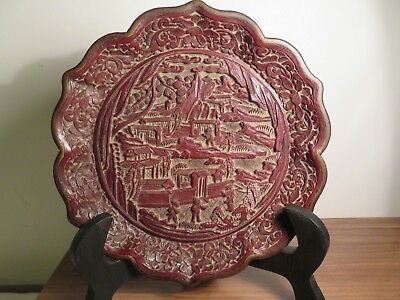 Antique Asian Chinese Carved Cinnabar Lacquer Plate