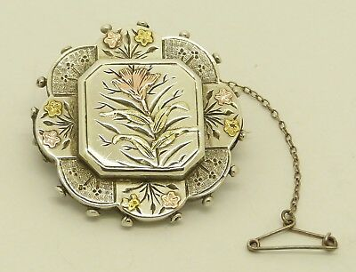 LOVELY VICTORIAN SOLID SILVER MOURNING BROOCH c1880s ROSE & YELLOW GOLD OVERLAY