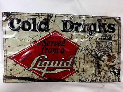 Rare Vintage Original (Cut) Old SODA COLA BEER COLD DRINKS ADVERTISING COKE SIGN