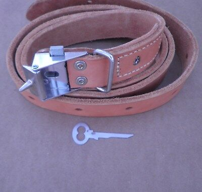 "Humane Restraint Co. Locking Leather Belt 54"" Long (3/16th Thick Leather)"