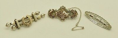 Fine Job Lot 3 Solid Silver Mizpah Sweetheart Brooches Hm 1907 Rose Gold Overlay