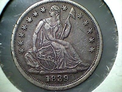 1839 Seated Liberty  Half Dime , Xf